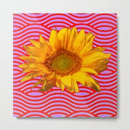 GOLDEN YELLOW SUNFLOWER RED-PURPLE ABSTRACT Metal Print