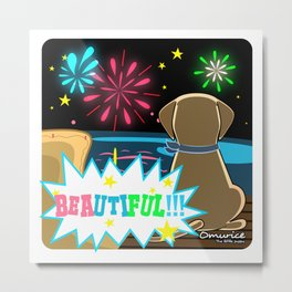 Omurice the little puppy - Fireworks by the beach Metal Print