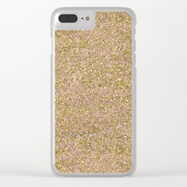 Blush Pink & Gold Glam Glitter Sparkle Clear iPhone Case