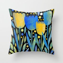 Textured Tulips Throw Pillow