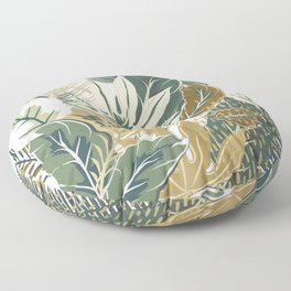 Palm Leaf Prints, Green and Gold, Nature Art Floor Pillow