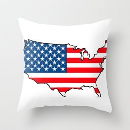 United States Map with American Flag Throw Pillow