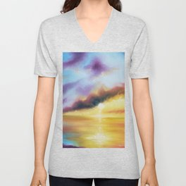 Rainbow Sunset Painting, Bright Beach Painting, Light Beautiful Sunset Art, Original Artwork, Sunset Unisex V-Neck