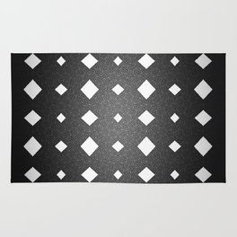 Black and White Leather Texture Diamond Pattern Rug
