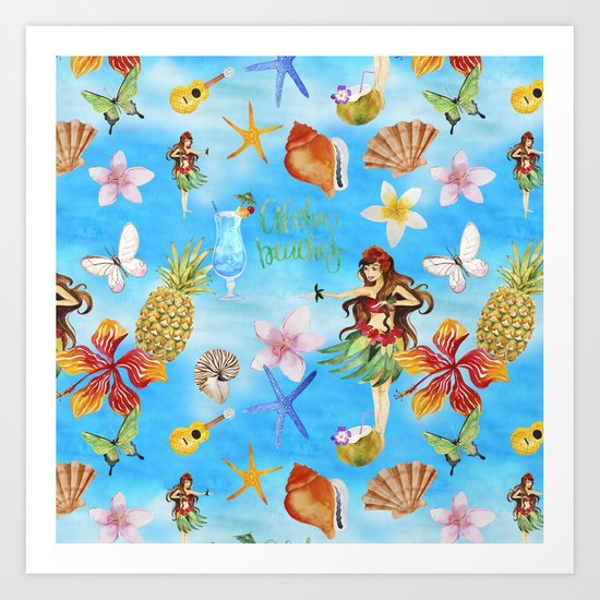 Aloha Beach Party Pattern with Hulagirl  on #Society6 Art Print