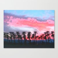 coachella Canvas Prints featuring Coachella Sunset by The Bun