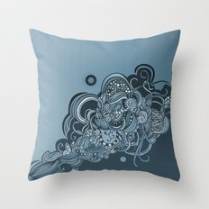 Detailed diagonal tangle, blue Throw Pillow