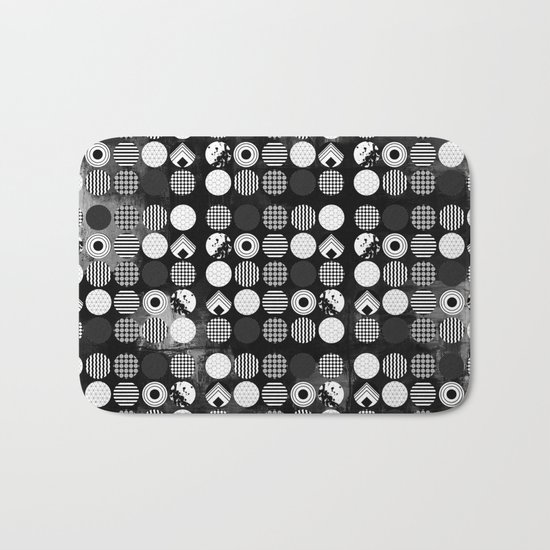 Hectic Geometric On Textured Black And White Bath Mat