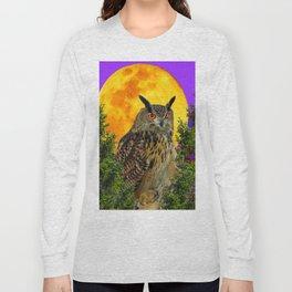 LONG-EARED OWL & MOON PANTENE PURPLE  ART DESIGN Long Sleeve T-shirt