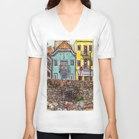 portugal V-neck T-shirts featuring Buarcos Buildings, Portugal by Claire Nelson-Esch