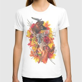 Deer and Fall Leaves Collage T-shirt