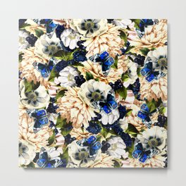 night and day flowers butterflies pattern Metal Print