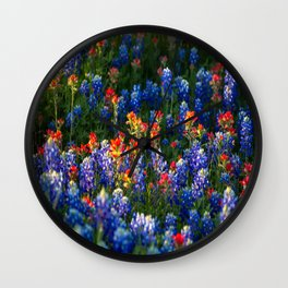 Wonderful Wildflowers - Bluebonnets and Indian Paintbrush on Spring Day in Texas Wall Clock