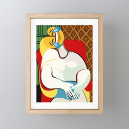 pablo picasso thee dream hommage parody emoji Framed Mini Art Print