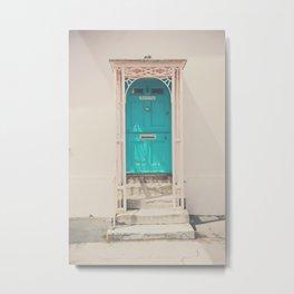 mint green door in a pink building  Metal Print