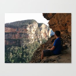 Off the beaten track and almost off the cliff in the Blue Mountains, NSW Canvas Print