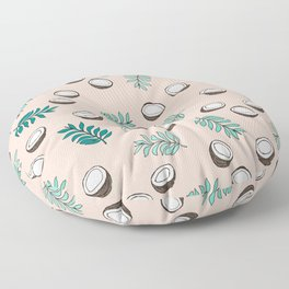Little coconut garden summer surf palm leaves pink Floor Pillow