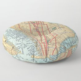 Vintage Map of New York City (1900) Floor Pillow