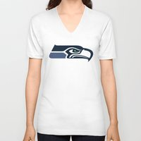 patriots V-neck T-shirts featuring Seahawks by loveme