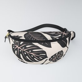 Monstera pattern in black and pastel Fanny Pack