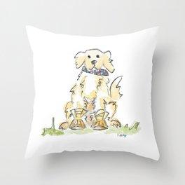 Preppy & Plaid Retriever Throw Pillow