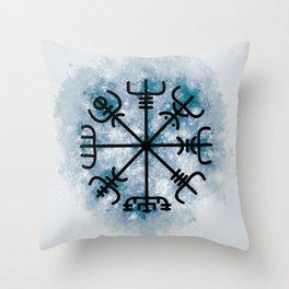 VEGVISIR Nordic sign post compass wayfinder Aqua Throw Pillow