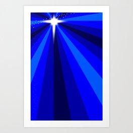 Blue Christmas Star Art Print