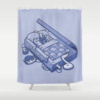 tape Shower Curtains featuring TAPE NAP by Letter_q