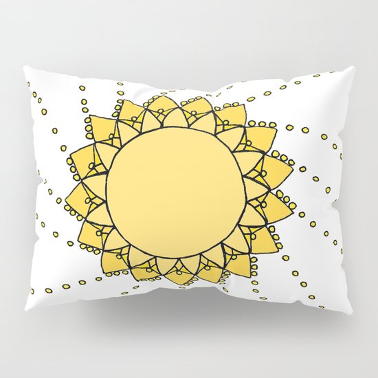 Celestial Swirling Sun Boho Mandala Hand-drawn Illustration on White Pillow Sham