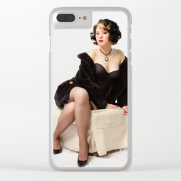 """""""Fur Coat #1"""" - The Playful Pinup - Sexy Vintage Pinup in Fur Coat by Maxwell H. Johnson Clear iPhone Case"""