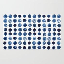 Indigo Circles Watercolor Pattern Rug