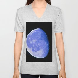 Icy Blue Moon Unisex V-Neck