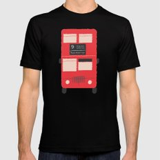 Red Double Decker Bus  MEDIUM Mens Fitted Tee Black