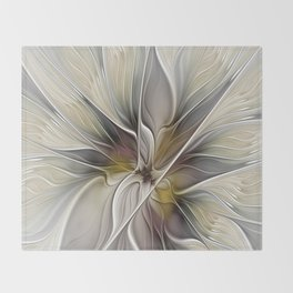 Floral Abstract, Fractal Art Throw Blanket