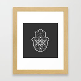 Sacred Geometry Hamsa Framed Art Print