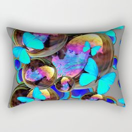BLUE & GOLD  BUBBLES BLUE BUTTERFLIES PEACOCK EYES Rectangular Pillow
