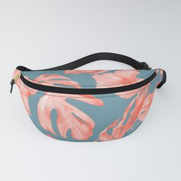 Island Life Coral on Deep Teal Blue Fanny Pack