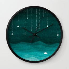 Falling stars, sailboat, teal, ocean Wall Clock