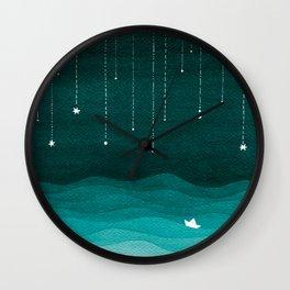 Falling stars, sailboat, teal, ocean Wall Clock