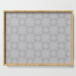 Snowflakes on Gray Serving Tray