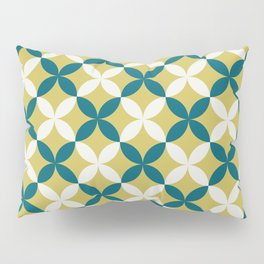 Off White, Dark Yellow and Tropical Dark Teal Inspired by Sherwin Williams 2020 Trending Color Oceanside SW6496 4 Leaf Minimal Flower Petal Pattern 2 Pillow Sham