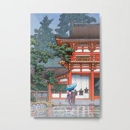 Tennoji Temple in Osaka by Hasui Kawase Metal Print