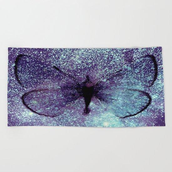 Celestial Butterfly Lavender Aqua Beach Towel