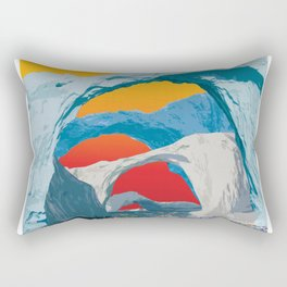 Kayak Race Through Ice Arches Rectangular Pillow
