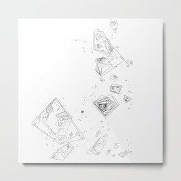 Mountain Vertices, Mt. Shasta, Black Geometric Metal Print