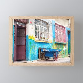 "Travel Photography ""colorful street photography taken in Balat, Istanbul"" with blue and pink colors. Abstract fine art photo print.  Framed Mini Art Print"