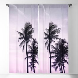 Palms on the Beach - Ultra violet, pink, purple and black Blackout Curtain