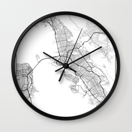 Minimal City Maps - Map Of Oakland, California, United States Wall Clock