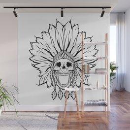 Shaman skull black & white Wall Mural