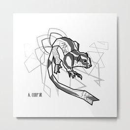 Geometric Striped Possum Metal Print